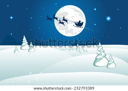 Winter Landscape. Santa Claus on a reindeer sleigh rides. Silhouetted against the full moon