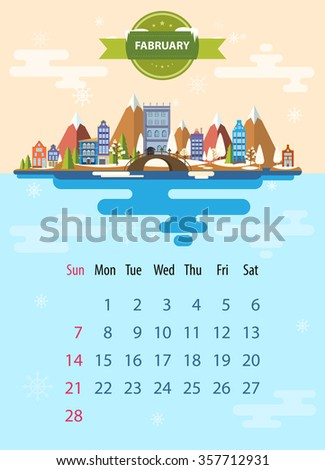 Winter landscape. Small town. Set 1 of urban buildings. Calendar. Month of February. Infographics. Flat design. Mountain, nature, winter, snowflake, building, city. Stock. Image. Illustration. Vector. - stock vector