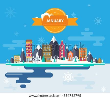 Winter landscape. Small town. Set of urban buildings. City. Calendar. Month of January.  2016 Infographics. Flat design. Stock. Image. Illustration. Vector. - stock vector