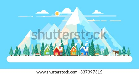 Winter landscape. The village in the forest on a background of mountains. Flat design - stock vector