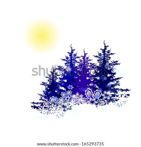 winter landscape trees. Vector - stock vector