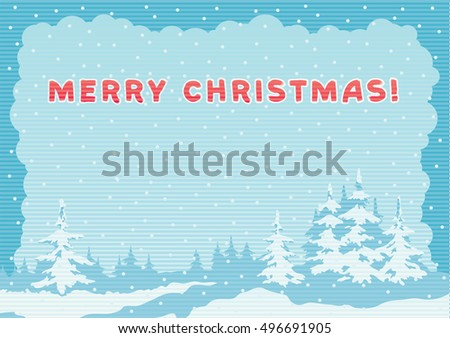 Winter landscape. Vector background of winter fir trees at color engraving style
