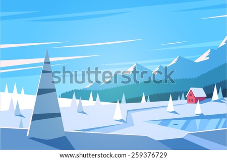 Winter landscape. Vector illustration. - stock vector