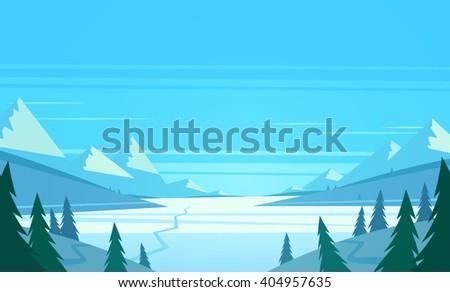 Winter landscape. Vector illustration. - stock vector