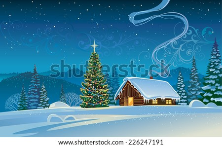 Winter landscape with a Christmas tree. - stock vector