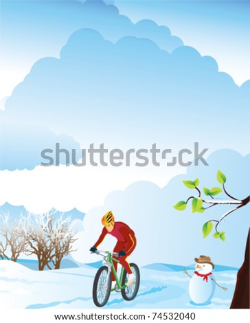 Winter landscape with a mountain biker.  Please see also summer, spring and autumn versions. - stock vector