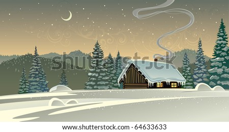 Winter landscape with a timber house. - stock vector