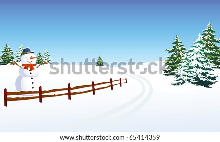 Winter landscape with cheerful snowman