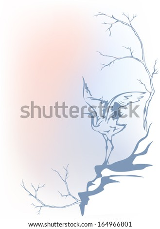 Winter landscape with elegant crane - tree branches and bird outline against tender background - stock vector