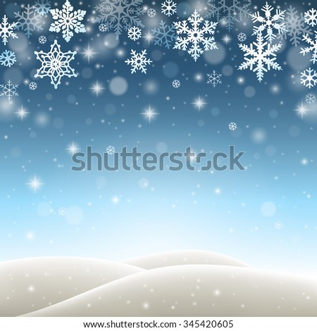 Winter landscape with falling snowflakes, snow and hills - stock vector