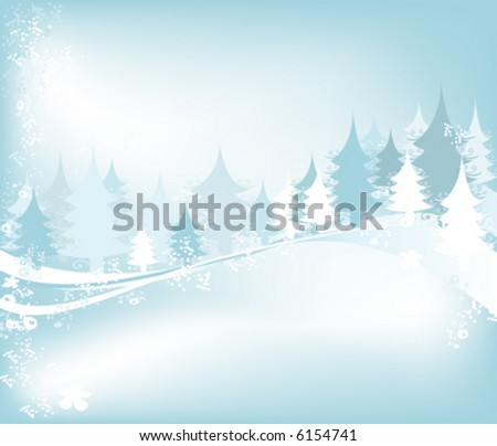 winter landscape with fir tree forest; Christmas illustration - stock vector