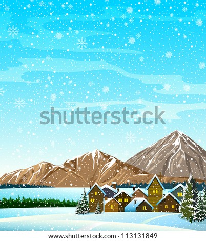 Winter landscape with houses, forest, mountains and snowfall - stock vector