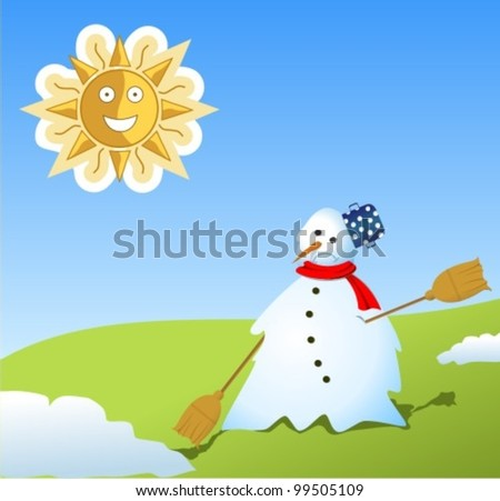 Winter landscape with melted snowman, vector illustration - stock vector