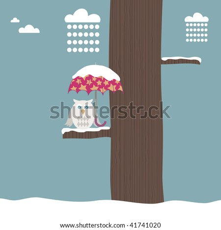 winter landscape with owl sheltering from the snow under an umbrella - stock vector