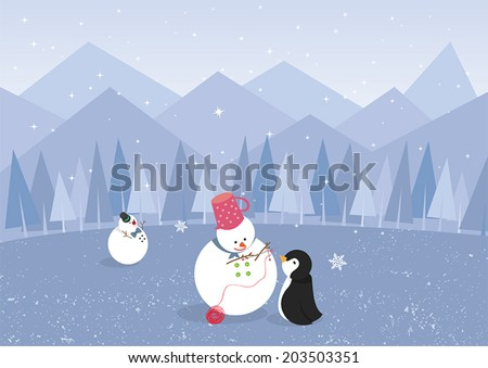 Winter landscape with penguin and cute snowman, create by vector  - stock vector