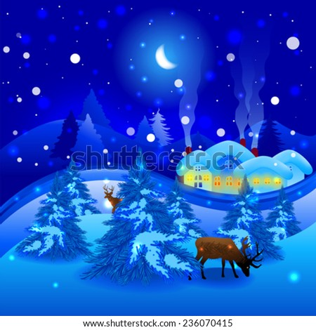 Winter landscape with reindeer at Christmas - stock vector