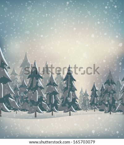 Winter landscape with snow flakes. Vector illustration - stock vector