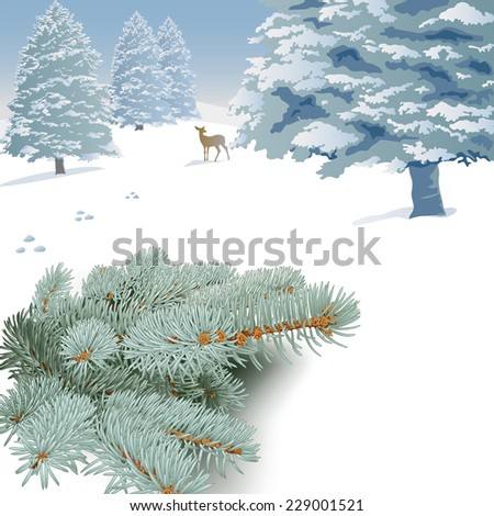 Winter landscape with spruce branches, trees and deer. Hand drawn vector illustration of snow covered landscape,  spruce branches, snow-capped trees, deer. - stock vector