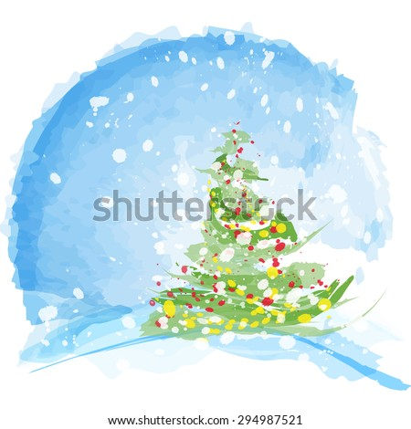 Winter landscape with the Christmas tree - stock vector