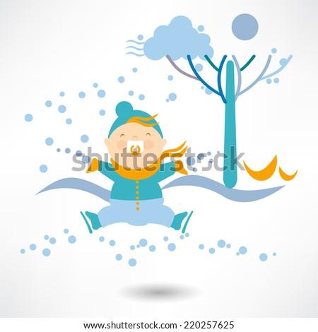 Winter . Little baby - stock vector