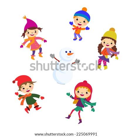 Winter Little girl sculpts snowman, Christmas boy snow  children vector set - stock vector