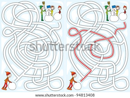 Winter maze for kids with a solution - stock vector