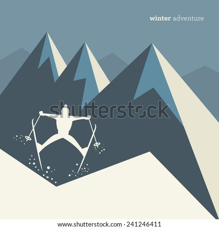 Winter mountain adventure background, vector illustration - stock vector