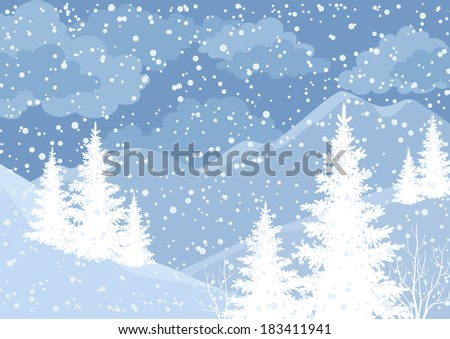 Winter mountain landscape with fir trees and snow, white and blue silhouettes. Vector - stock vector
