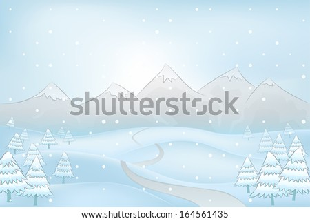 winter mountain outdoors with snowy hills and fir trees around road vector illustration