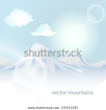 Winter mountains landscape at dusk - stock vector