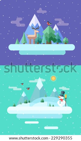 Winter nature.  Christmas time. Vector flat illustrations - stock vector