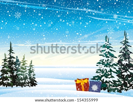 Winter nature landscape with presents and snowfall. - stock vector
