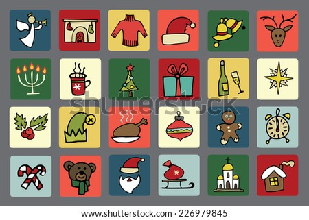 Winter,New year, Christmas colored icons set.Many different decorative elements for winter holidays in square buttons. Trendy flat style.Doodle sketch in  style of  child's hand drawing. Vector
