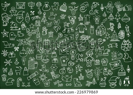 Winter,New year, Christmas outline icons.Big set on chalkboard.Many different decorative elements for winter holidays design. Trendy flat style.Doodle sketch in  style of  child's hand drawing. Vector - stock vector