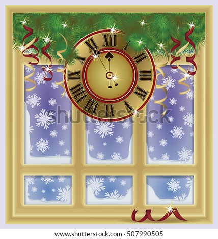 Winter new year window with clock, vector illustration