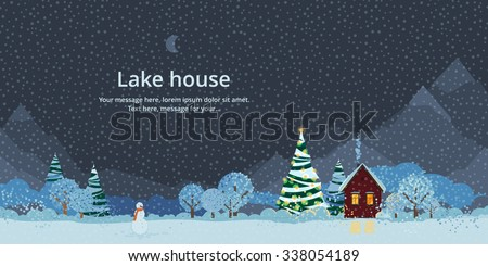 Winter night, house in the mountains, festive fir - stock vector