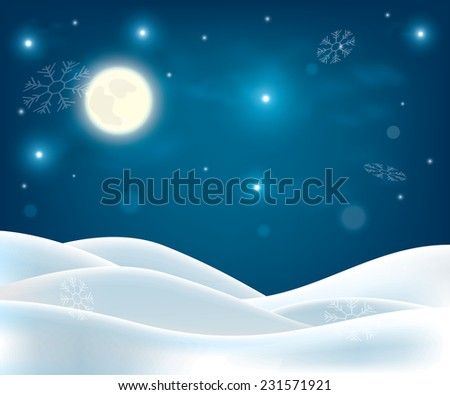 winter night landscape. Merry Christmas and happy new year background - stock vector