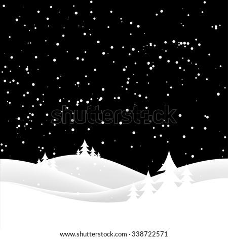 winter night landscape. Merry Christmas. vector illustration - stock vector