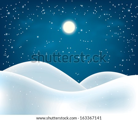winter night landscape. Merry Christmas. vector illustration eps10 - stock vector