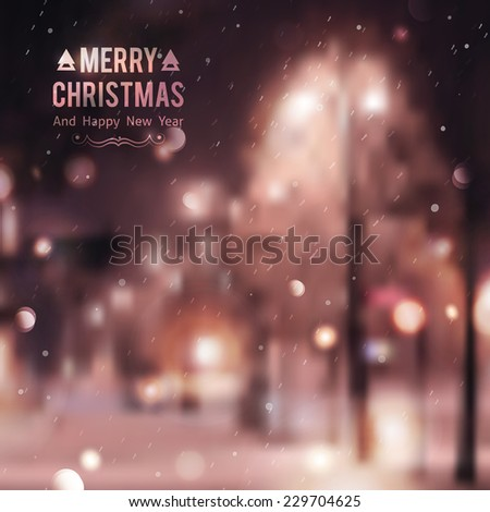 Winter night street, vector blurred background. Merry christmas and happy new year. - stock vector