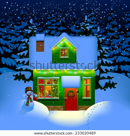 Winter night with spruce forest in the snow and alone illuminated green wooden Christmas house. Christmas and New Year greeting card. Vector illustration - stock vector