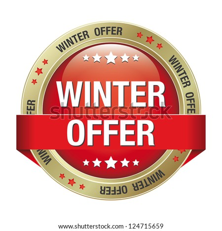winter offer gold red button isolated background - stock vector