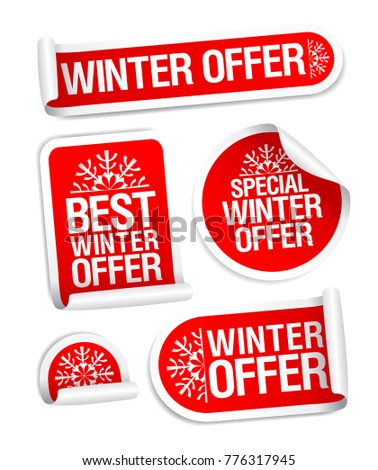 Winter offer stickers vector set