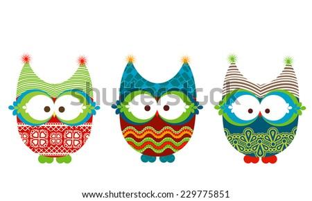 winter owls  - stock vector