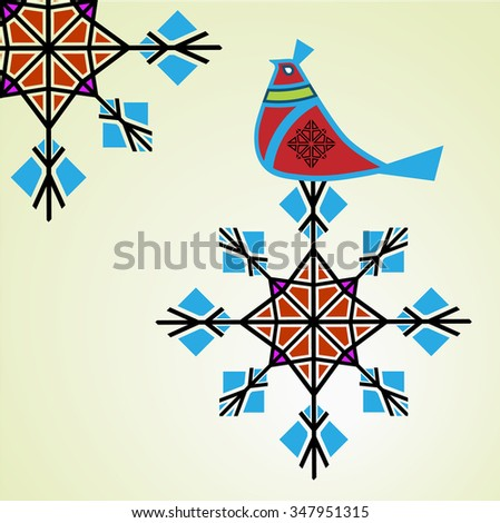 Winter partridge sitting on snowflake  - stock vector