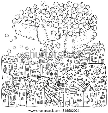 Winter Pattern For Adult Coloring Book Page With Artistically Houses And Snow Magic City