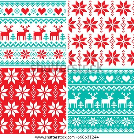 Winter Pattern Set Christmas Seamless Design Stock Vector ...