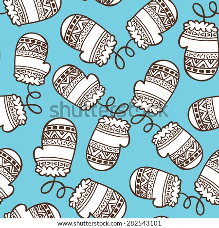 winter pattern. vector seamless pattern with hand drawn ornate doodle object