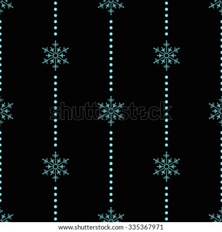 Winter pattern with blue snowflakes and dots. Christmas Lights for Xmas Holiday Design. Modern vector illustration.  - stock vector