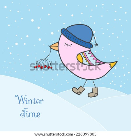 Winter pink bird. Bird in clothing with berry - stock vector